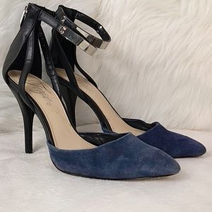 blue soft leather high ankle strap short stiletto